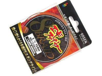 Плетеный шнур Gosen Aoriika Egi Fire 8 Braid PE #1.0 150m 9.1kg 20.0lb #Многоцветный